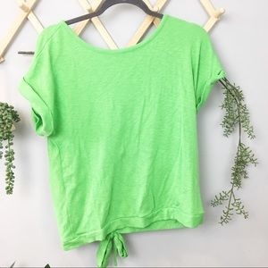 A NEW DAY // Green slit back tie top